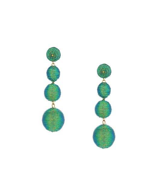 Kenneth Jay Lane | 3 Green Thread Small To Large Wrapped Ball Pierced Earrrings W/ Dome Top | Lyst