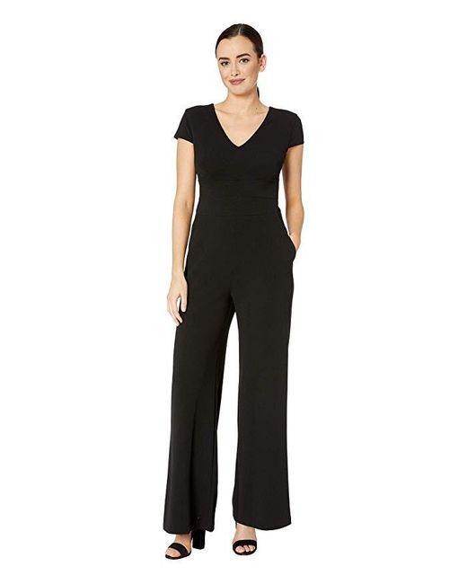 Donna Morgan - Black Cap Sleeve V-neck Crepe Jumpsuit - Lyst