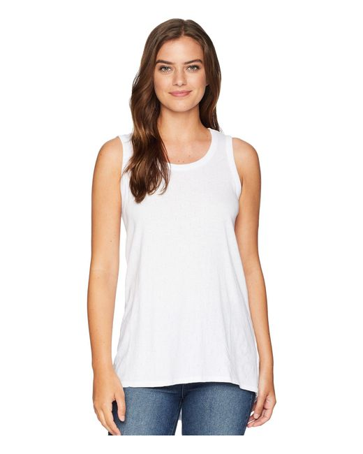 Mod-o-doc - Mini Pointelle Knit Back Rib Vented Tank Top (white) Women's Sleeveless - Lyst