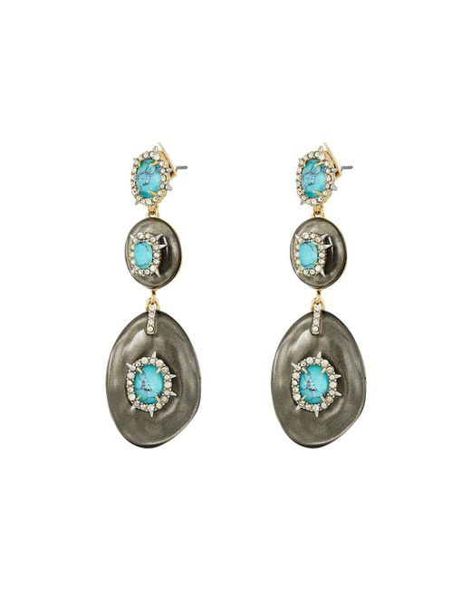 Alexis Bittar - Multicolor Crystal And Stone Studded Liquid Silk Dangling Post Earrings (ash) Earring - Lyst