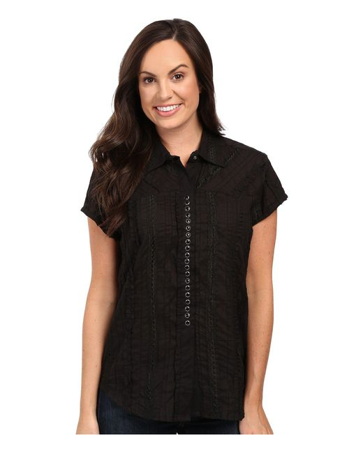 Scully | Black Honey Creek Lace Cap Sleeve Top W/ Flirty Snap Front | Lyst
