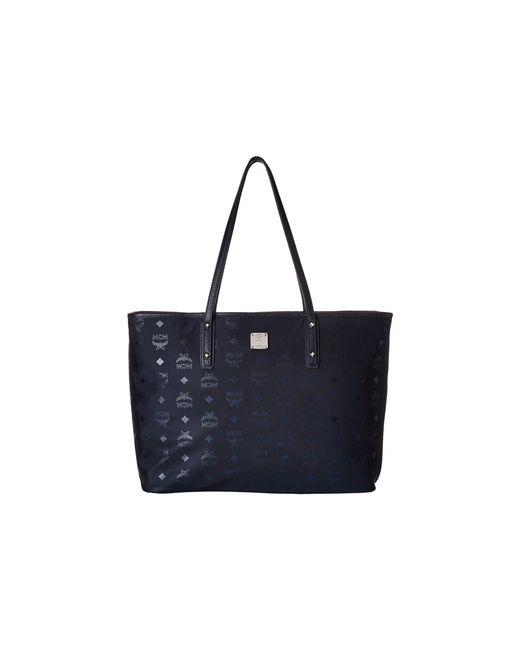 MCM - Dieter Monogrammed Nylon Top Zip Medium Shopper (navy Blue) Tote Handbags - Lyst