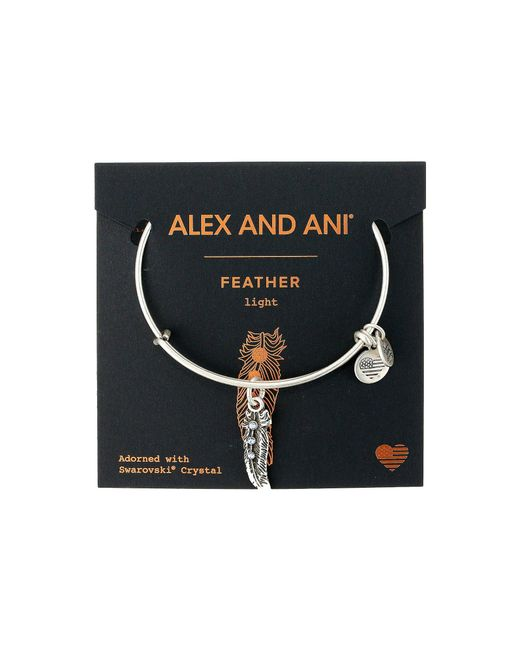ALEX AND ANI - Metallic Path Of Symbols - Feather Ii Bangle - Lyst