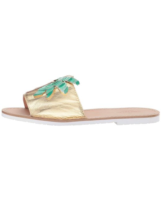 Izele Flamigo & Palm Tree Metallic Leather Slides YwnUaHlU5m