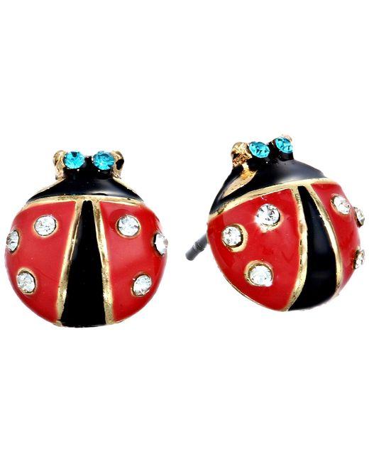 Betsey Johnson - Ladybug Studs (black/red) Earring - Lyst