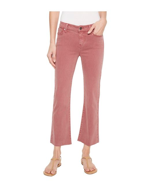 Liverpool Jeans Company - Pink Hannah Crop Flare In Slub Stretch Twill In Roan Rouge - Lyst