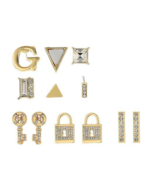Guess | Metallic 9 Set Mixed Earrings - Studs, Logo, Lock, Key | Lyst
