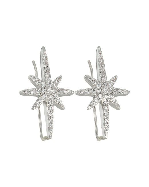 Betsey Johnson - Metallic Blue By Silver Tone Earrings Climbers With Pave Crystal Accented Starburst - Lyst