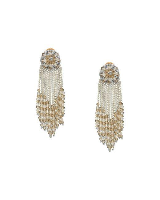 Oscar de la Renta - Metallic Chain Cluster Beaded C Earrings (crystal Shade/silver) Earring - Lyst