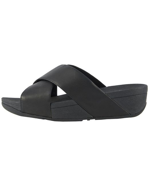 8d5b38d7b98605 Lyst - Fitflop Lulu Leather Cross Sandals in Black - Save 1%