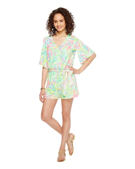 b09eb4cfccd7 Lilly Pulitzer - Green Madilyn Romper (tiki Pink Royal Lime Engineered)  Women s Jumpsuit ...