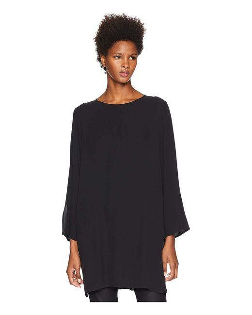 Eileen Fisher - Silk Georgette Crepe Round Neck Tunic With Side Slits (black) Women's Clothing - Lyst