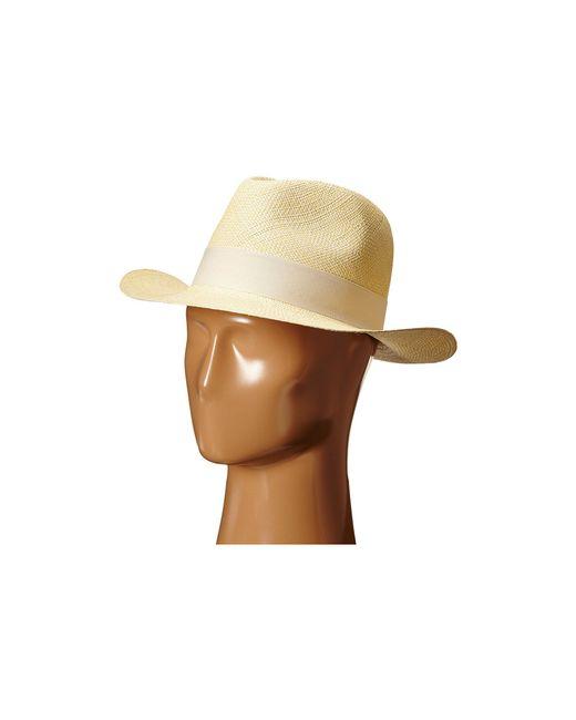 Hat Attack - Natural Original Panama Fedora With Classic Bow Trim (bleach/black) Fedora Hats - Lyst