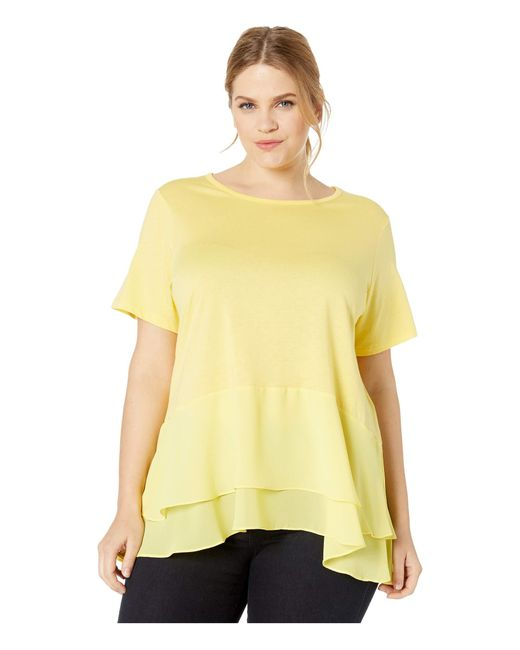 MICHAEL Michael Kors Yellow Plus Size Solid Woven Double Hem Top