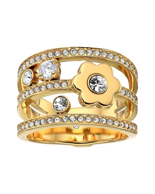 Michael Kors - Metallic In Full Bloom Floral And Crystal Accent Stacked Ring (gold) Ring - Lyst