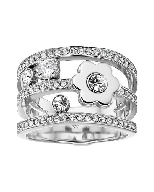 Michael Kors - Metallic In Full Bloom Floral And Crystal Accent Stacked Ring (silver) Ring - Lyst