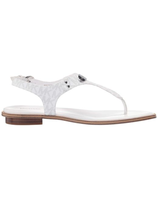 a30ef1fd9a8 ... MICHAEL Michael Kors - White Mk Plate Thong (dark Chambray Saffiano)  Women s Sandals ...