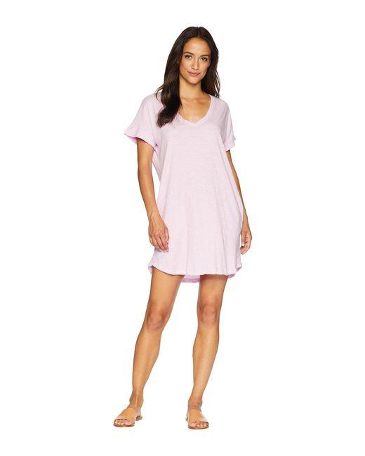 Allen Allen - Pink Short Sleeve Vee Dress With Pockets (cilantro) Women's Dress - Lyst