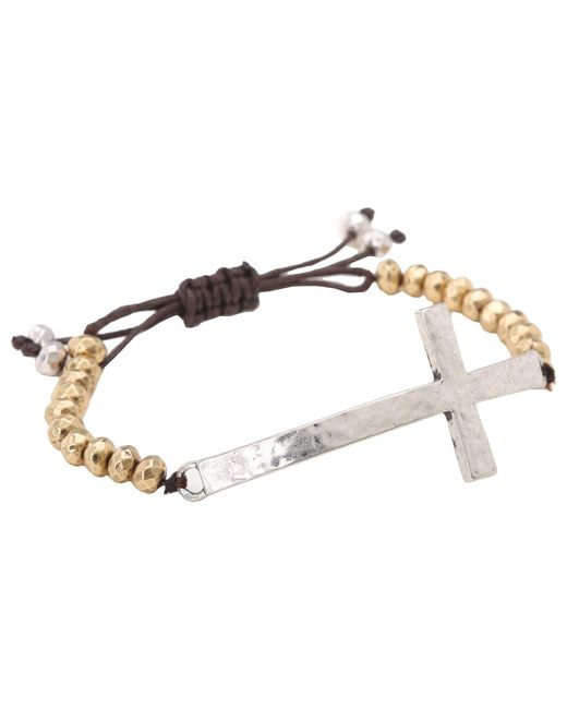 Lucky Brand | Metallic Qwik Group Cross Beaded Bracelet | Lyst