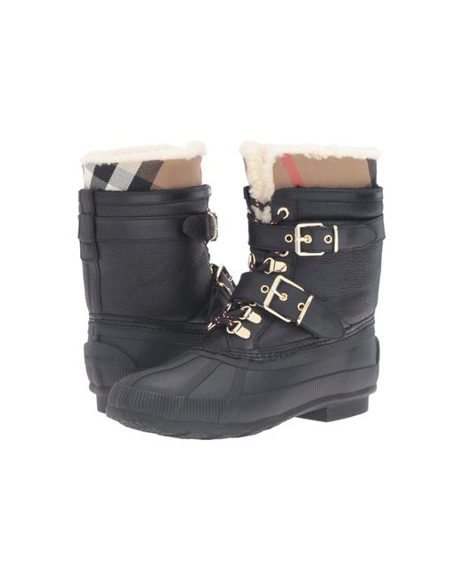 Burberry - Black Windmere Buckled Leather and Shearling Boots - Lyst