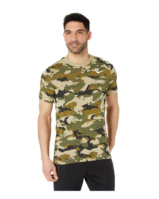 4397ffc78591 Nike - Green Dry Tee Dri-fittm Cotton Camo All Over Print (dark Grey ...