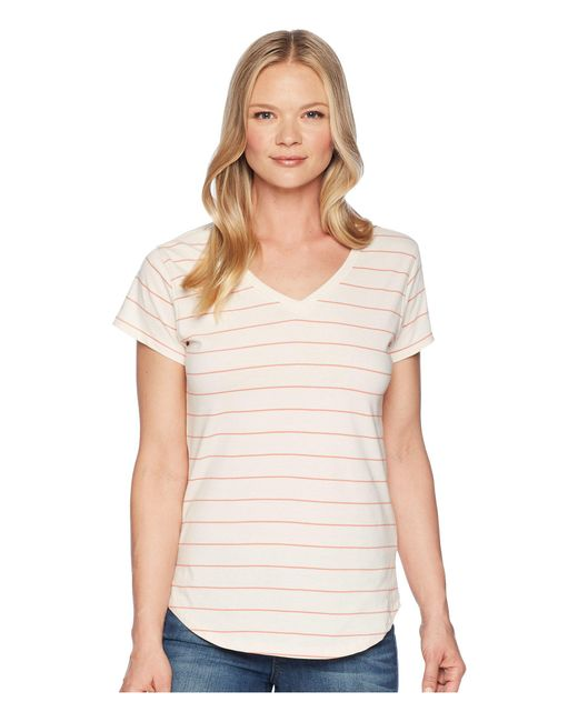 Mountain Khakis - Natural Cora Short Sleeve Crew (linen Stripe) Women's Clothing - Lyst