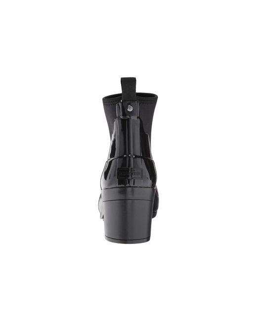 27f3a23030de ... Hunter - Refined Mid Heel Gloss Rain Boots (black) Women s Rain Boots  ...