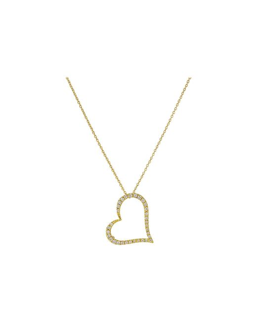 Roberto Coin | Tiny Treasures 18k Yellow Gold Slanted Open Heart Necklace | Lyst