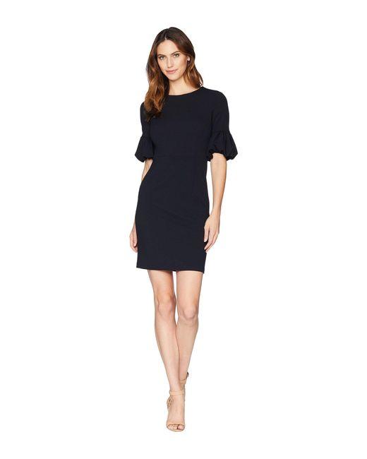 Donna Morgan - Blue Crepe Sheath Dress With Lantern Sleeve (marine Navy) Women's Dress - Lyst