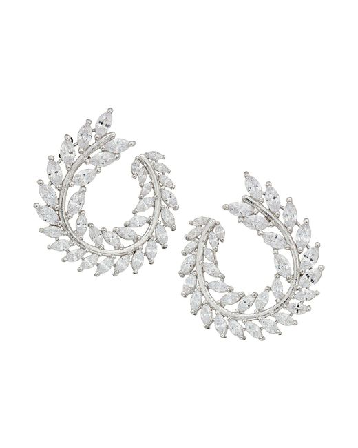 Nina - Multicolor Front To Back Fern Hoop Earrings (rhodium/white Cz) Earring - Lyst