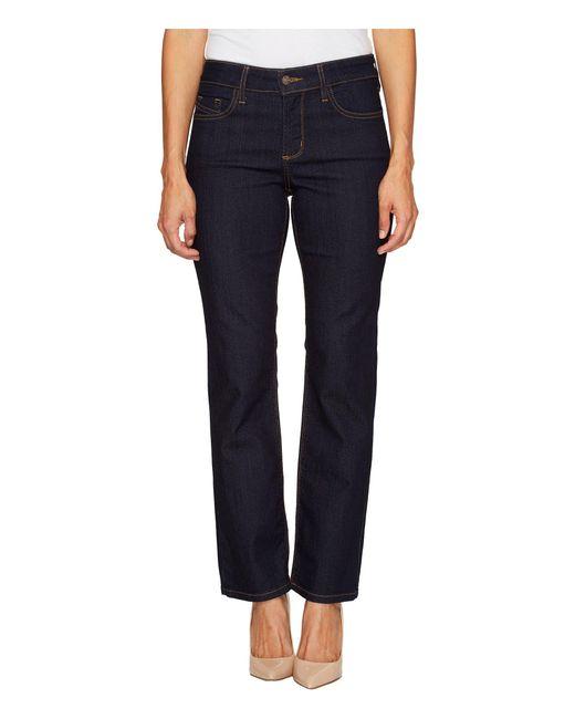 NYDJ - Blue Petite Hayley Straight Contrast In Dark Enzyme (dark Enzyme) Women's Jeans - Lyst