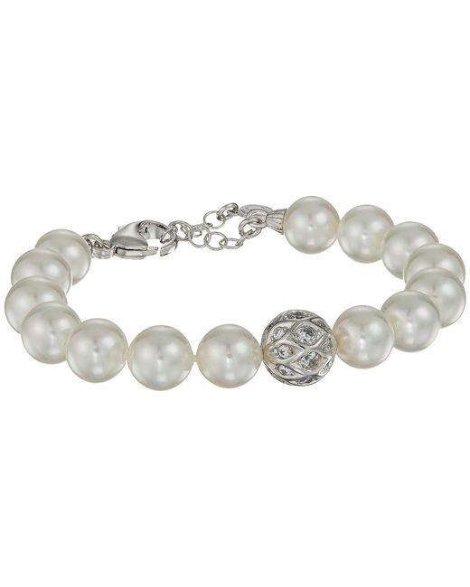 Majorica - 10mm Round Pearls And Cz Silver Bracelet 7.5-8.5 (white) Bracelet - Lyst