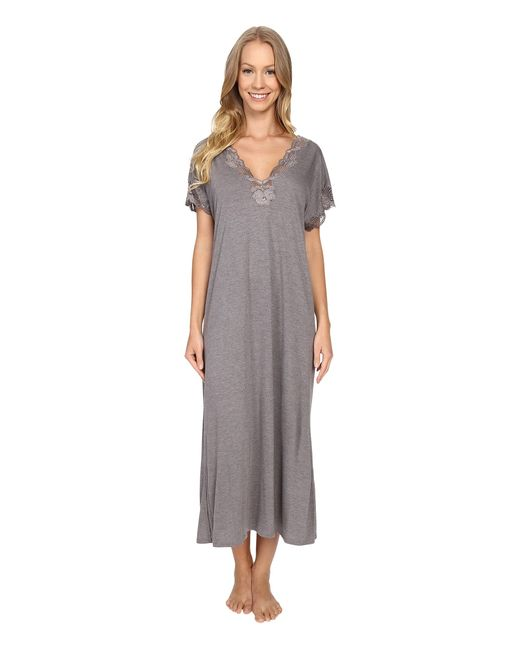 Natori   Gray Zen Floral Nightgown   Lyst