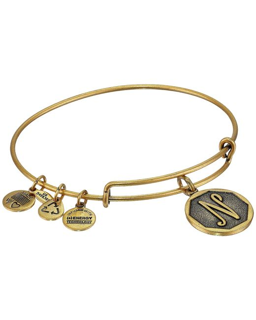 ALEX AND ANI - Metallic Initial N Charm Bangle - Lyst