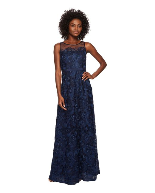 Lyst - Adrianna Papell Long Metallic Embroidered Gown (midnight ...