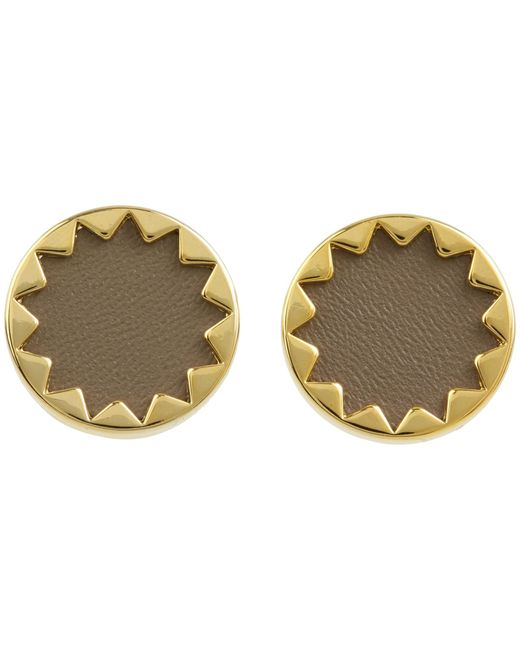 House of Harlow 1960 | Gray Sunburst Button Earrings With Khaki Leather | Lyst