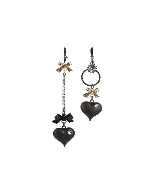 Betsey Johnson | Black Heart/ Bow Drop Earrings | Lyst