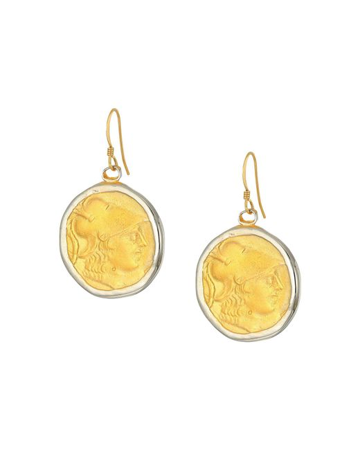 Kenneth Jay Lane - Metallic Rhodium/satin Gold Coin Fishhook Earrings (silver/satin Gold) Earring - Lyst
