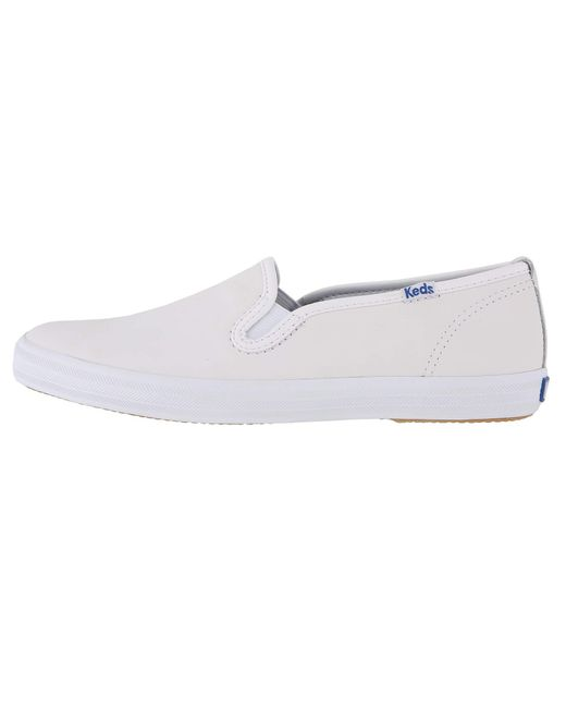1cd8f64b771f ... Keds - Champion-leather Slip-on (white Leather) Women s Flat Shoes ...