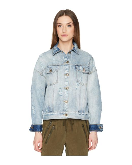 The Kooples - Blue Denim Jacket With Destroyed Effect - Lyst