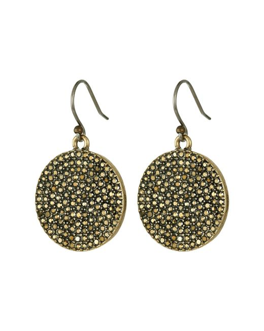 Lucky Brand   Metallic Gold Pave Disk Earring   Lyst