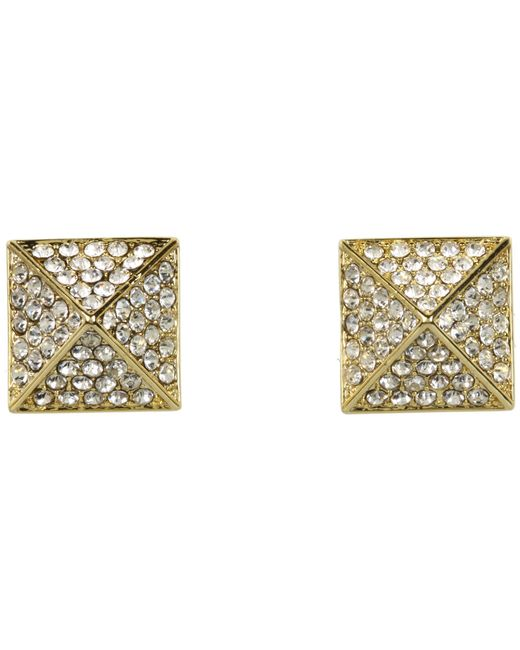 Vince Camuto | Metallic Gold Pave Pyramid Studs | Lyst