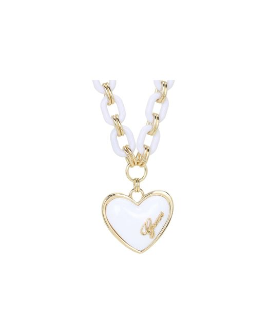 Guess | Metallic Plastic Link Puffy Heart Necklace | Lyst