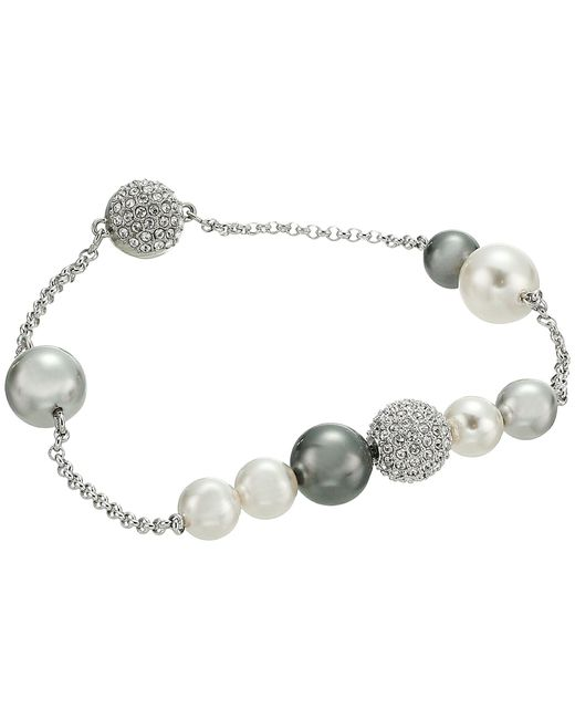 Swarovski - Multicolor Remix Collection Mixed Gray Crystal Pearl Bracelet - Lyst