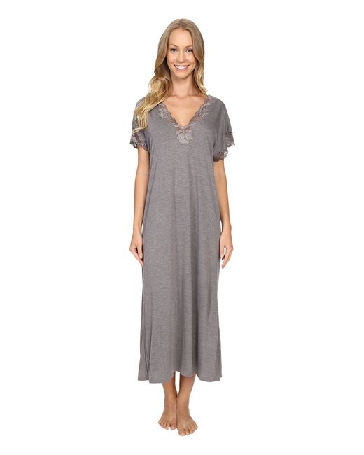 Natori | Gray Zen Floral Nightgown | Lyst