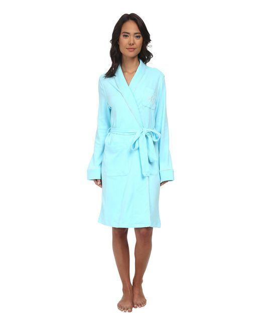 Lauren by Ralph Lauren | Blue Essentials Quilted Collar And Cuff Robe | Lyst