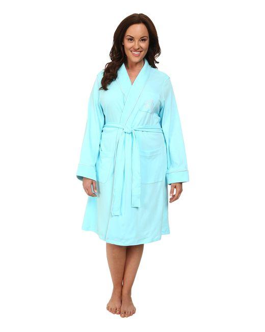 Lauren by Ralph Lauren | Blue Plus Size Essentials Quilted Collar And Cuff Robe | Lyst