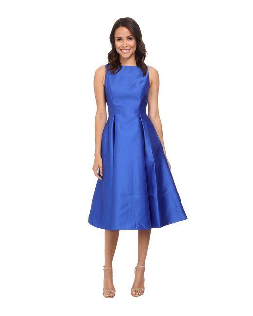Adrianna Papell | Blue Sleeveless Tea Length Dress | Lyst
