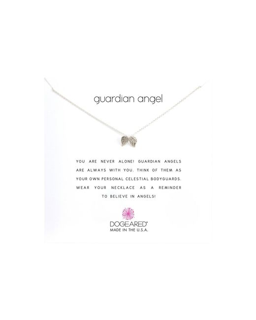 Dogeared - Metallic Guardian Angel Reminder Necklace (sterling Silver) Necklace - Lyst