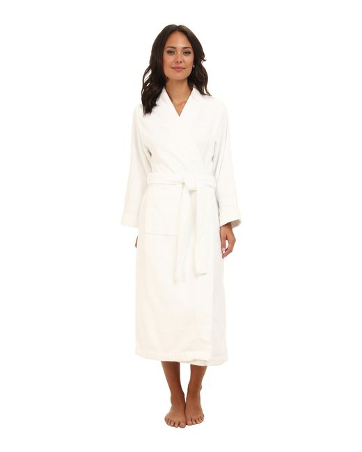 Lauren by Ralph Lauren | White Greenwich Woven Terry Long Robe | Lyst